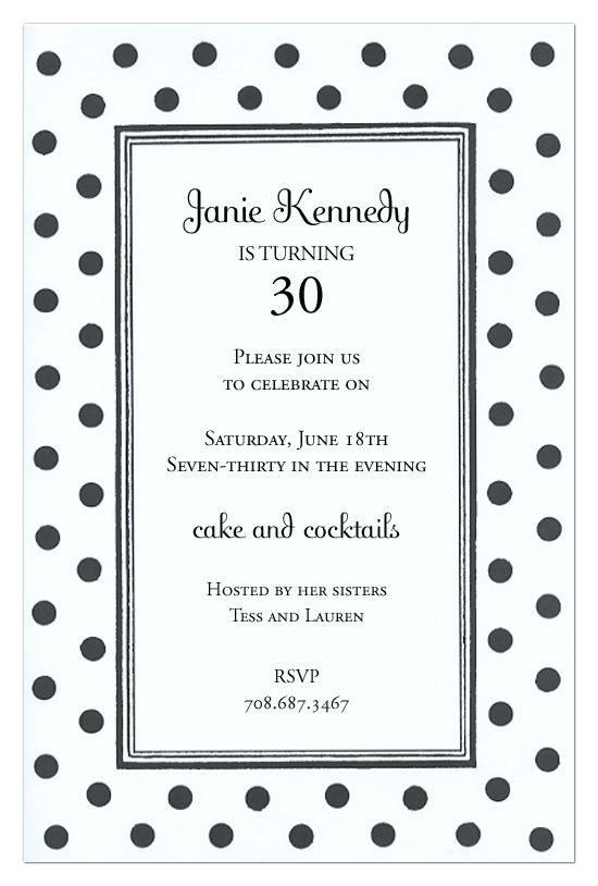 black and white dots invitation polka dot design
