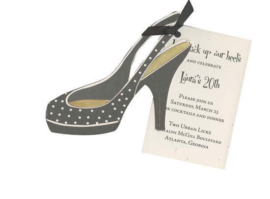 Black and White Shoe Invitation