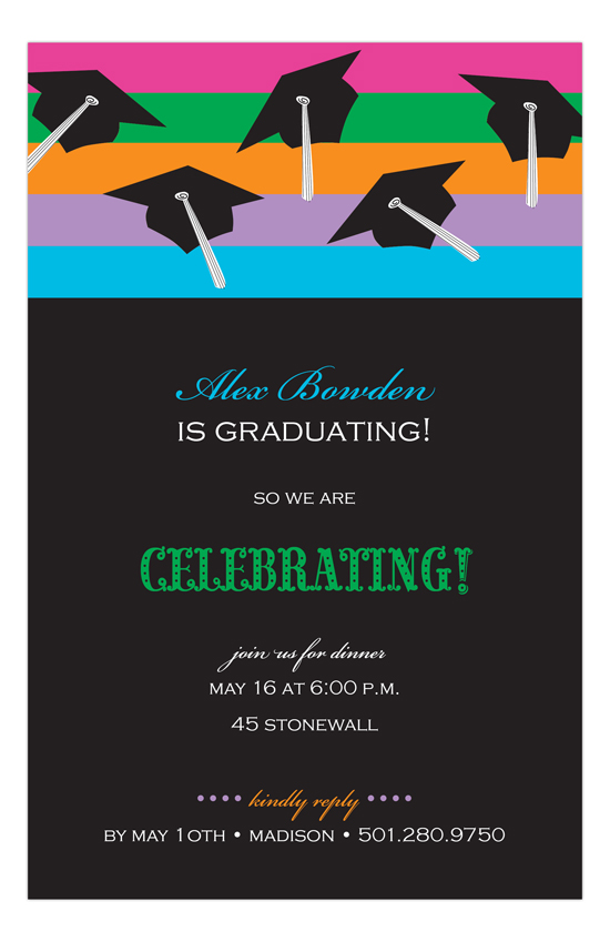Black Caps and Stripes Graduation Invitation