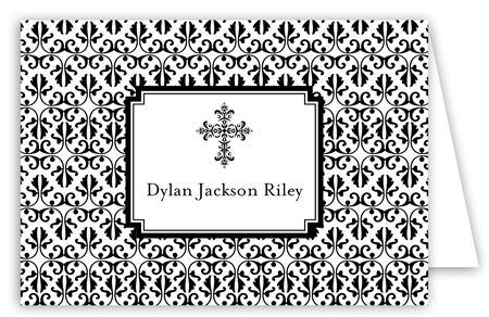 Black Cross Iron Scroll Folded Note Card