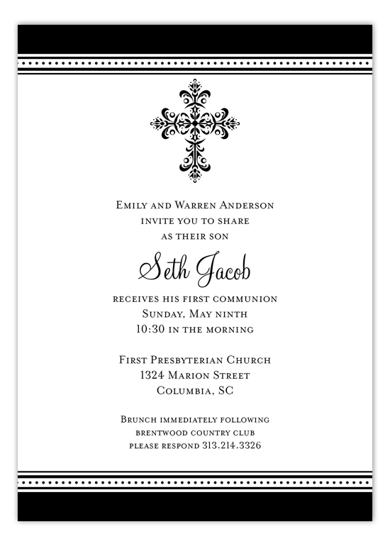 Black Cross Iron Scroll Invitation