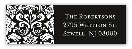 Black Damask Greeting Address Label