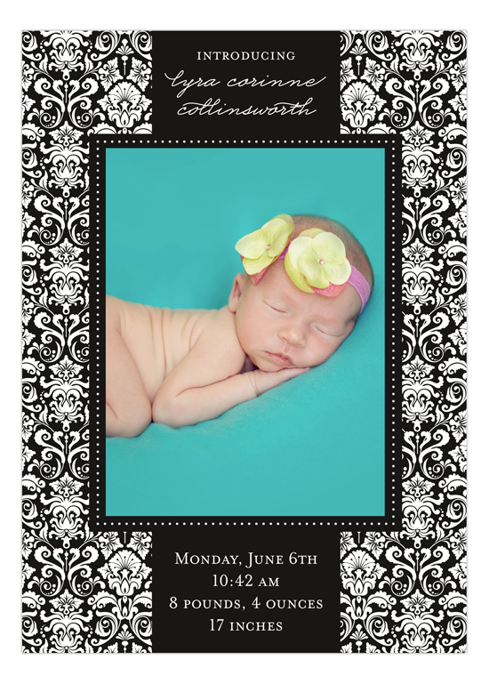 Black Damask Greeting Photo Card