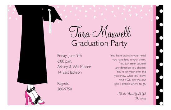 Black Dots and Confetti College Graduation Invitation