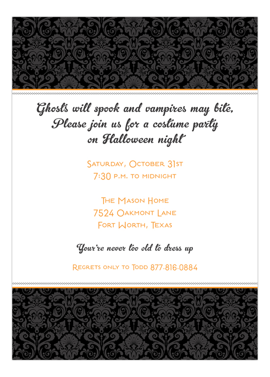 black halloween damask create your own halloween invitations