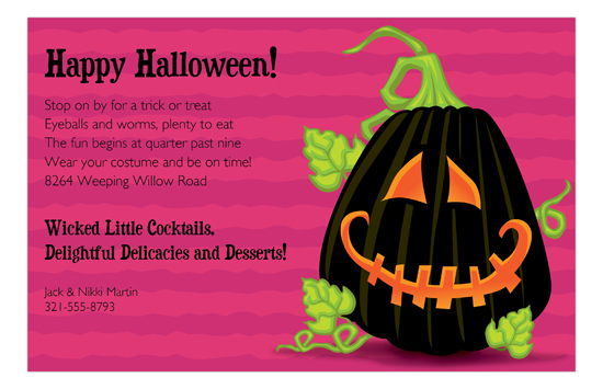 Black Jack Pink Halloween Invitations