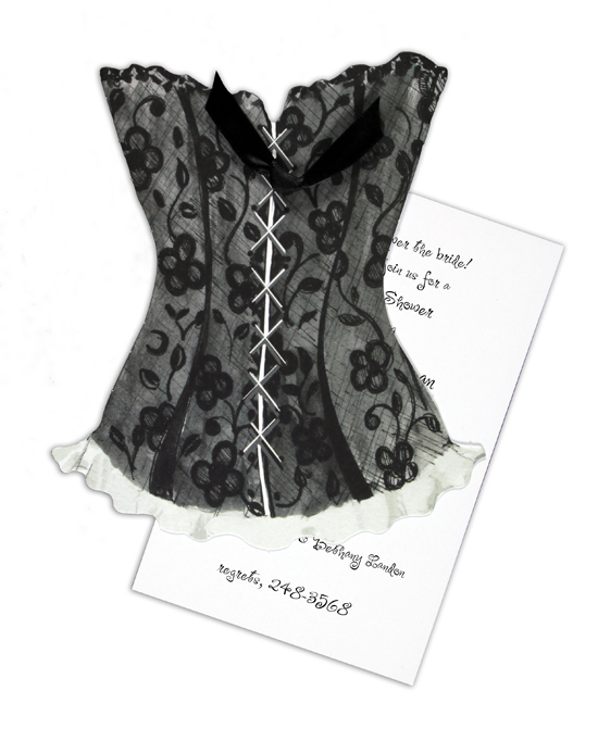 Black Lace Corset Invitation