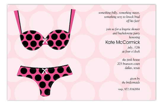 Black Polka Dot Undies Invitation