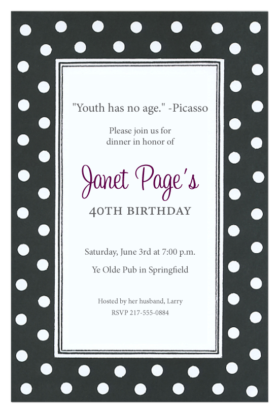 black and white polka dot invitations