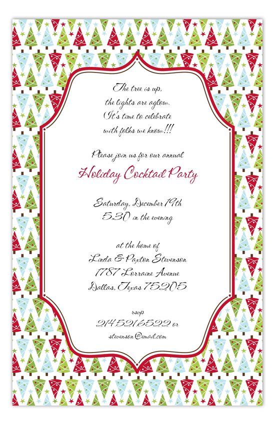 Christmas Tree Bliss Holiday Cocktail Party Invitations
