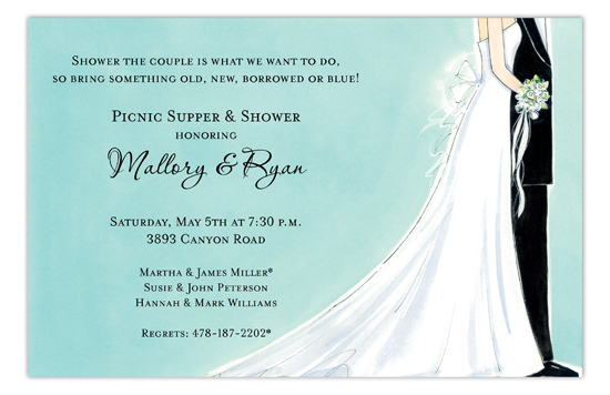 Blissful Bride and Groom Bridal Shower Invites