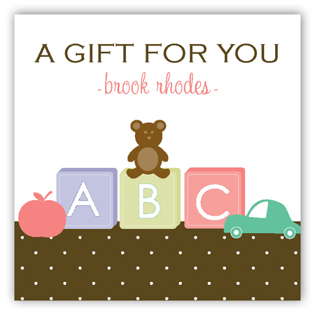 Blocks and Teddy Gift Tag