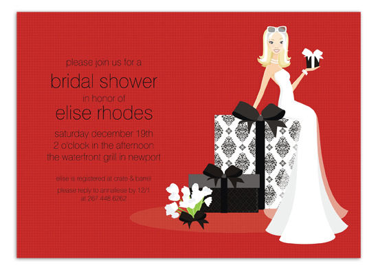 Blonde Bride on Gift - Red Invitation