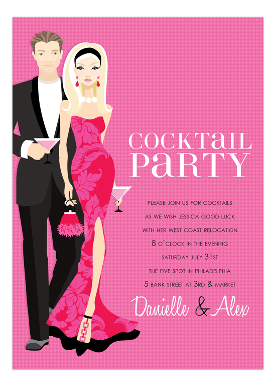 Doc Milo Blonde Cocktail Party Hot Pink Invitation Cocktail – Coctail Party Invitation