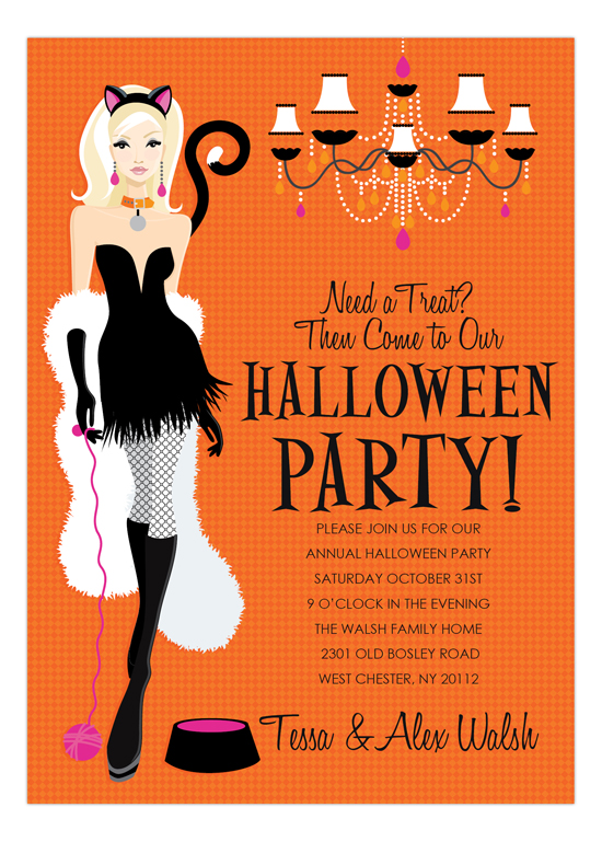 Blonde Here Kitty Halloween Invitation | Polka Dot Design