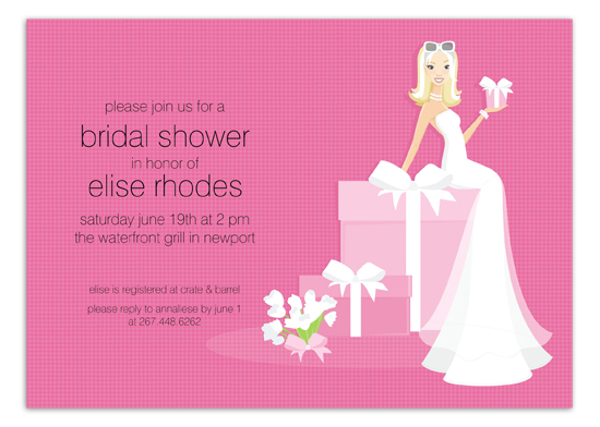 Blonde Pink Bride on Gift Invitation