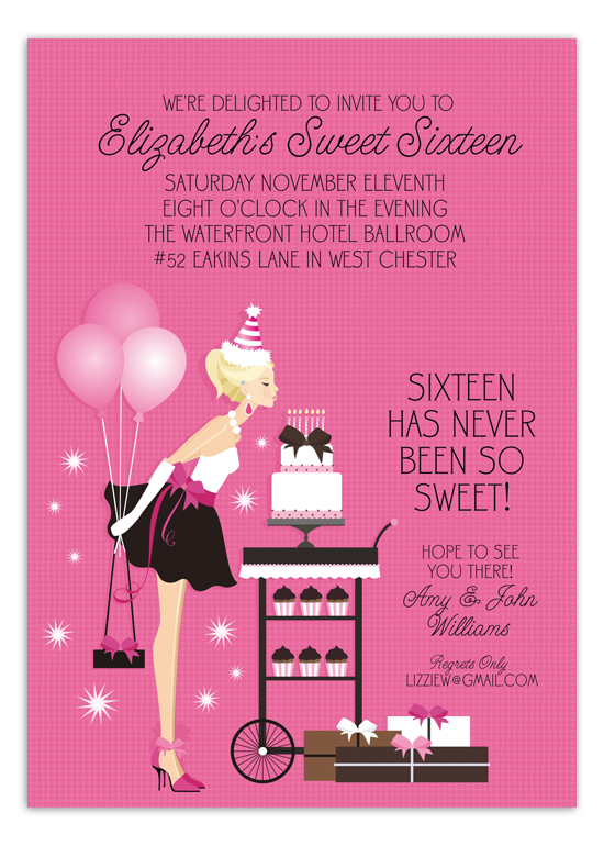 blonde sweet 16 birthday blowout invitation | polka dot design,