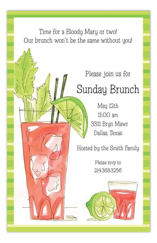 Bloody Mary Brunch Invitation Polka Dot Bridal Luncheon Invitations