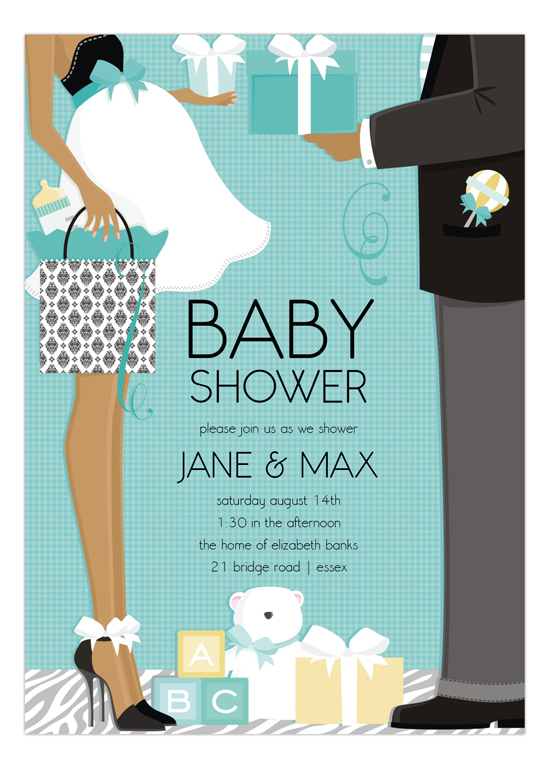 Blue African American Classic Couple Baby Shower Invitation  Polka
