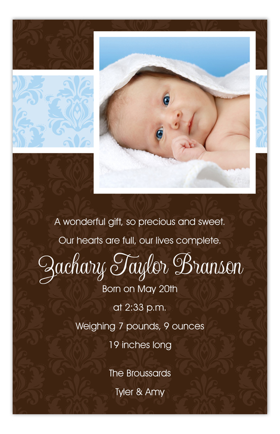 Blue and Brown Damask Photo Card