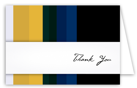 Blue and Gold Stripes Note Card