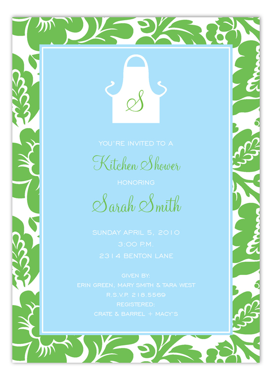 Blue and Green Monogram Apron Kitchen Invitations