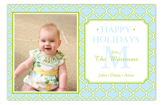 Blue and Lime Quatrefoil Photo Card
