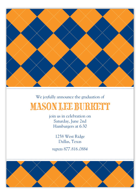 Blue and Orange Argyle Invitation