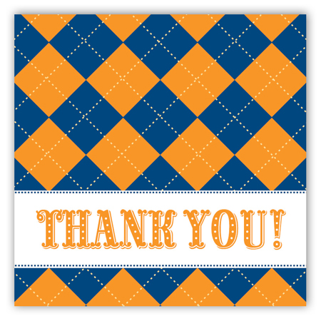 Blue and Orange Argyle Square Sticker