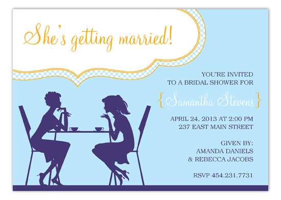 Blue and Orange Girl Chat Invitation