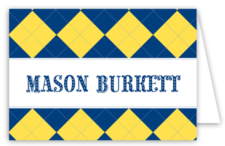 Blue and Yellow Argyle Folded Note Card