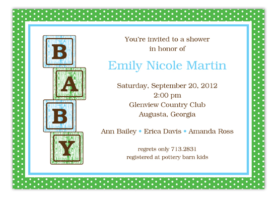 Blue Baby Blocks Invitation