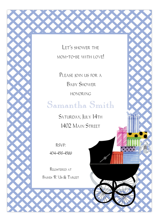 Blue Baby Buggie Invitation