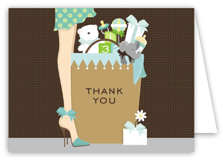 Blue Baby Shower Bag Thank You Card