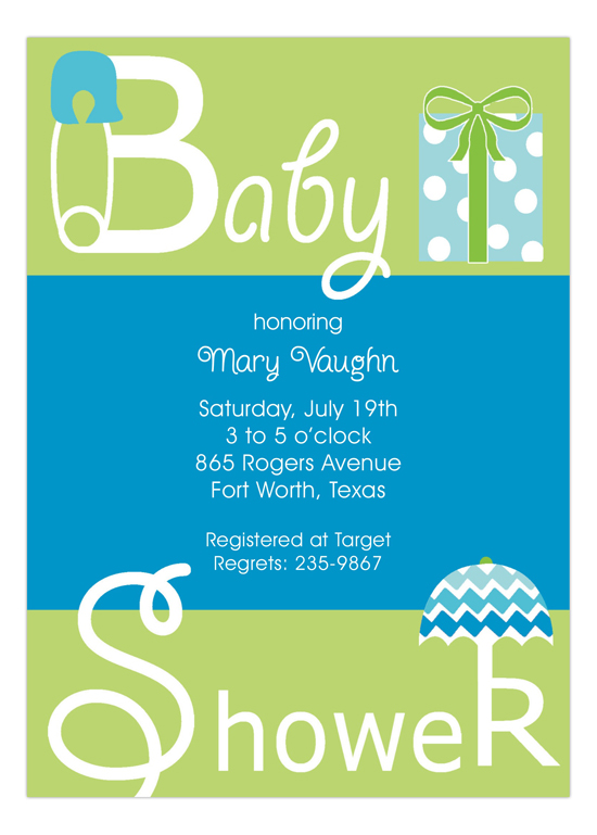 Blue Baby Shower Present Invitation