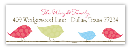 Blue Birds on a Wire Address Label