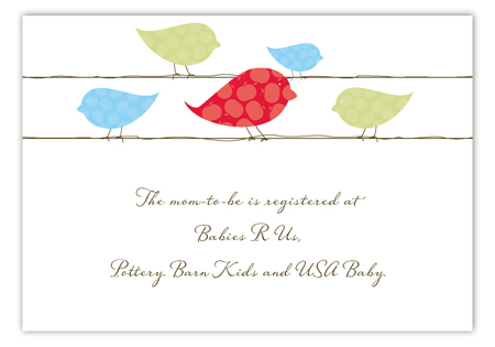 Blue Birds on a Wire Enclosure Card