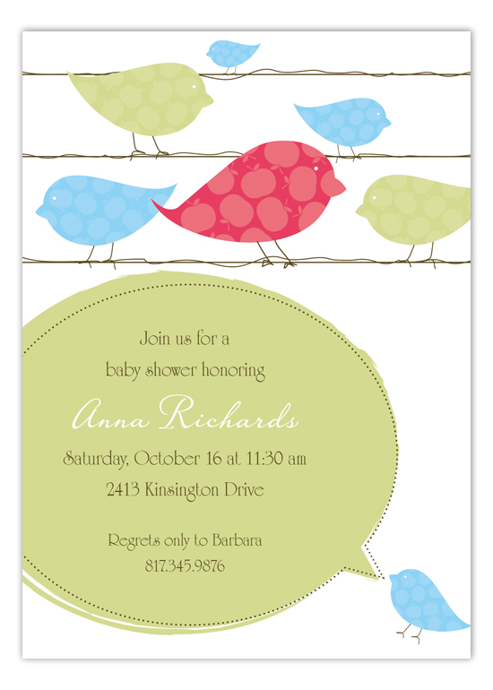 Blue Birds on a Wire Invitation