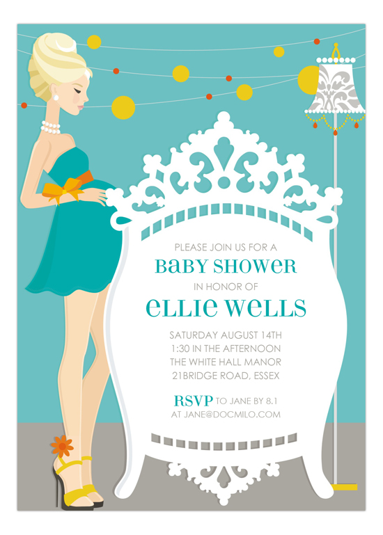 Blue Blonde Classic Crib Mama Invitation