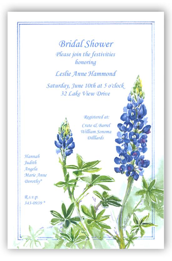odd balls blue bonnet floral invitation   bouquets and