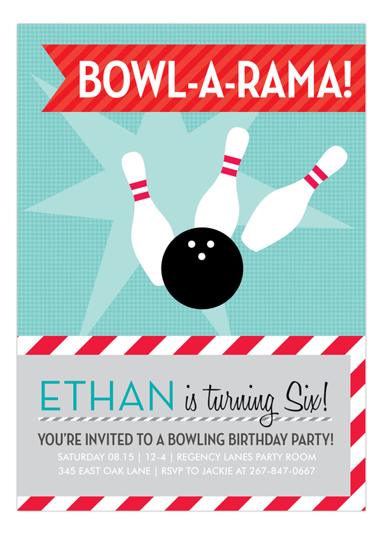 blue bowl a rama invitation invitations for a bowling party