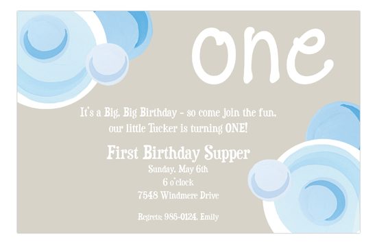Blue Bubbly One Invitation