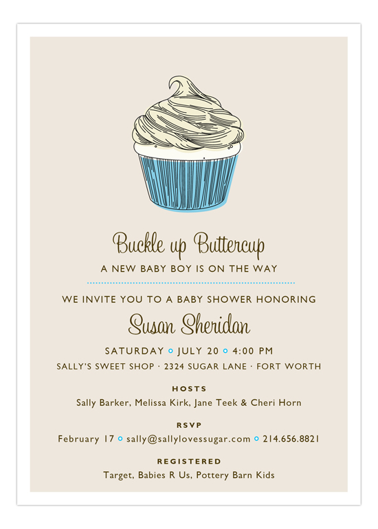 Blue Buckle Up Buttercup Invitation