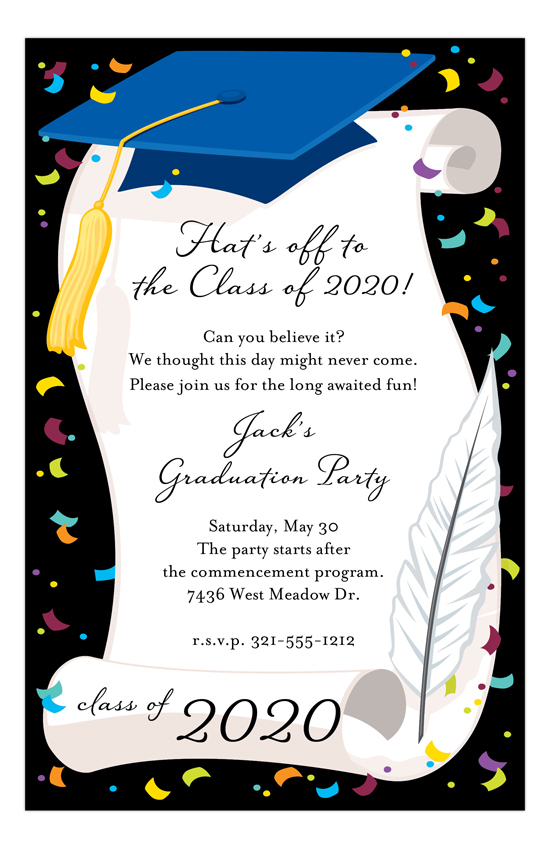 Blue Cap and Diploma Invitation