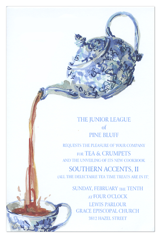 Blue Chintz Tea Invitation