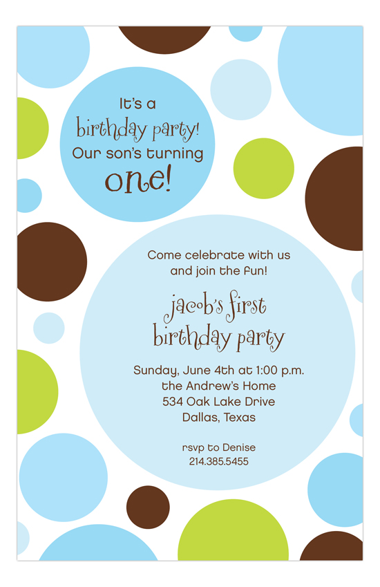 Blue Chocolate Lime Dots 1st Birthday Invitations