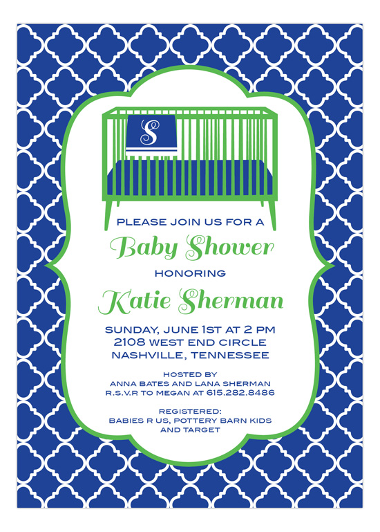 Blue Crib and Blanket Baby Shower Invitation