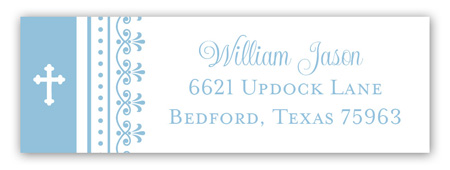 Blue Cross Iron Scroll Address Label