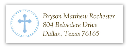 Blue Cross Pendant Address Label