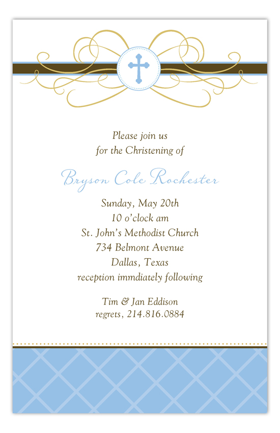 Blue Cross Pendant Invitation